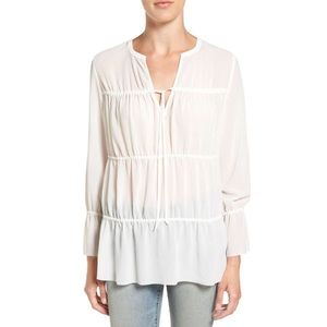 Hinge Ruched Panel Peasant Top